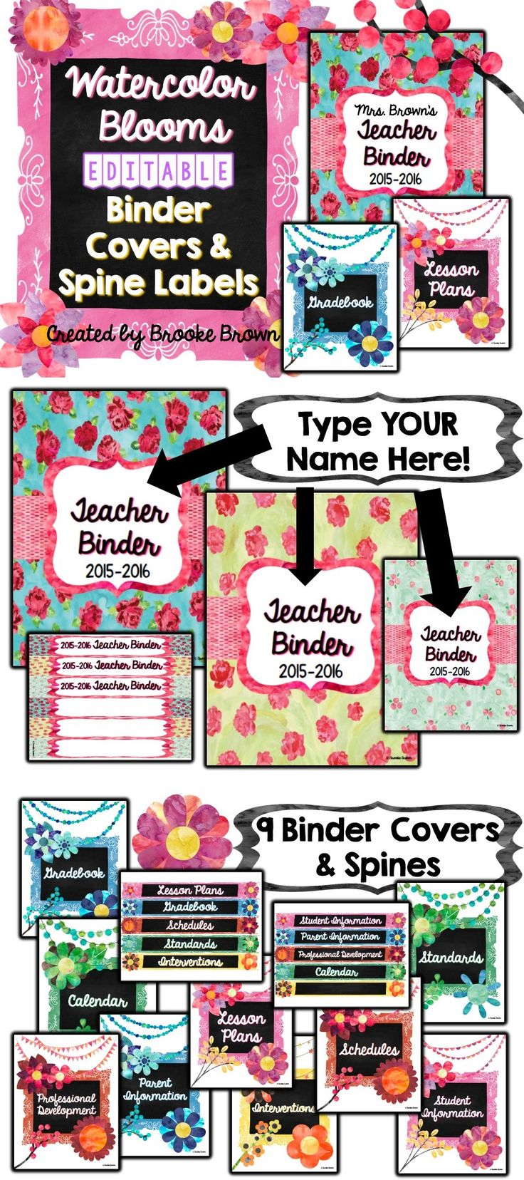 **FREE SURPRISE IN THE PREVIEW!** Watercolor Blooms Binder Covers & Spine Labels {EDITABLE!}