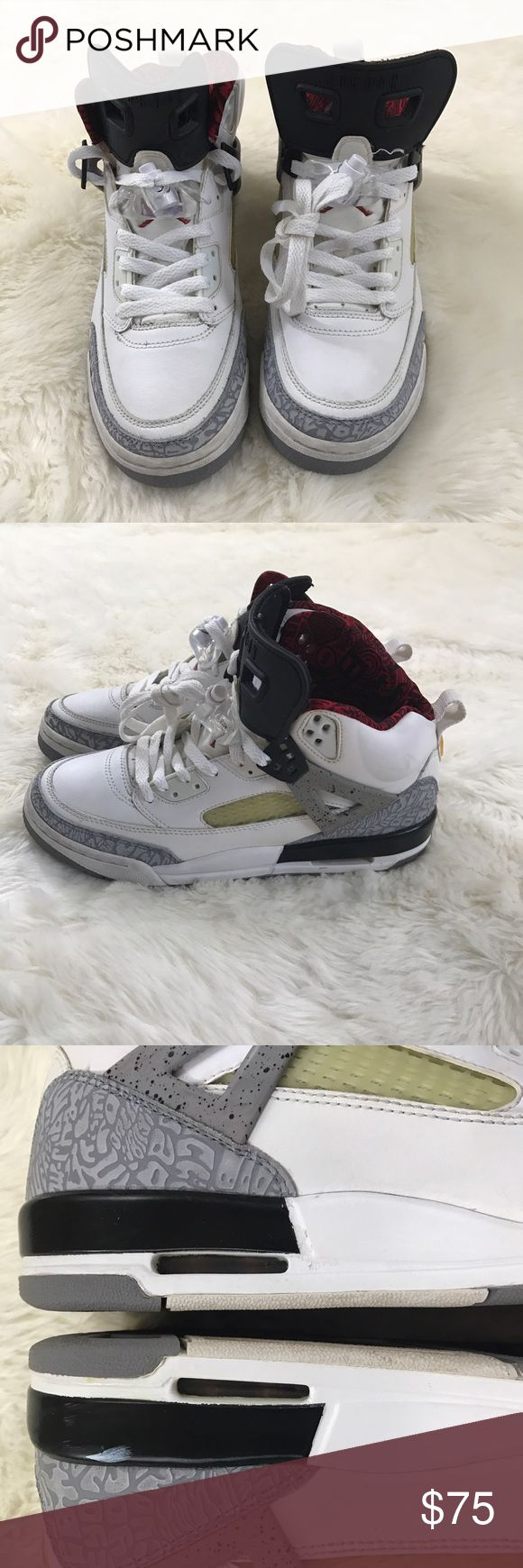 Nike Jordan Spizike 6.5Y Cement Mars Spike Lee These are from 2007 Jordan Spizike youth size 6.5Y these are a classic  Does not have original box   Sneakers have been worn many times: signs of wear for their age there isn't much cracking of the paint. There is yellowing on the sides and toe box. These are not new again used but still in good condition for age. These are a classic and hard to come by The inside logo has peeled off   Please see pictures for more details Nike Shoes Sneakers
