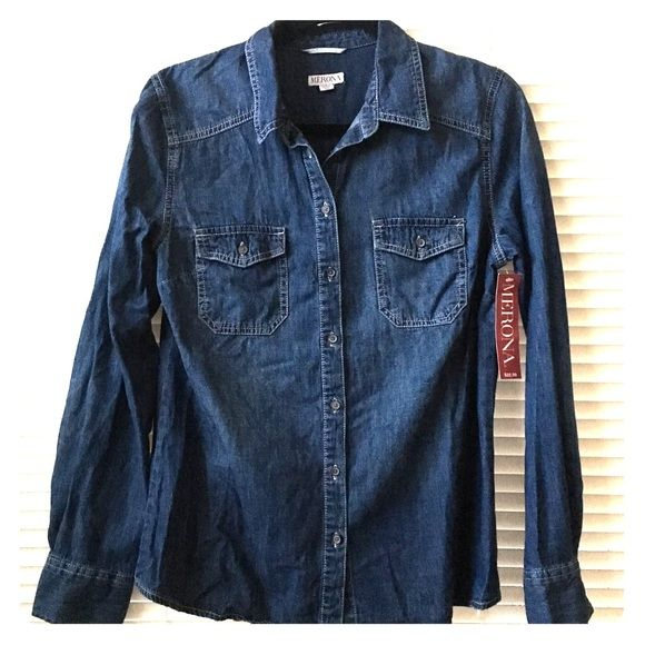 Merona Women's Denim Long Sleeve NWT. Never worn.  Chic denim long sleeve. PRICE IS FIRM  Bundle to save 20% off 2 or more items!  Merona Tops Button Down Shirts