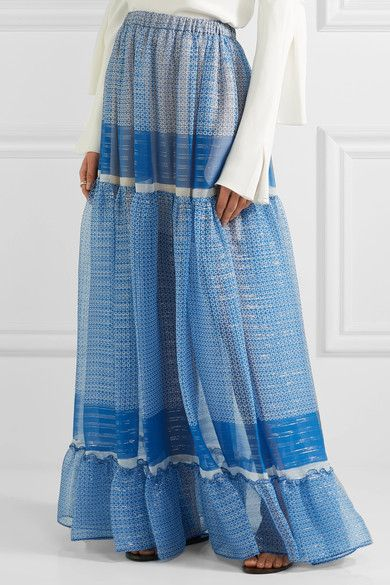 Stella McCartney - Elsa Tiered Printed Silk-blend Chiffon Maxi Skirt - Blue - IT42