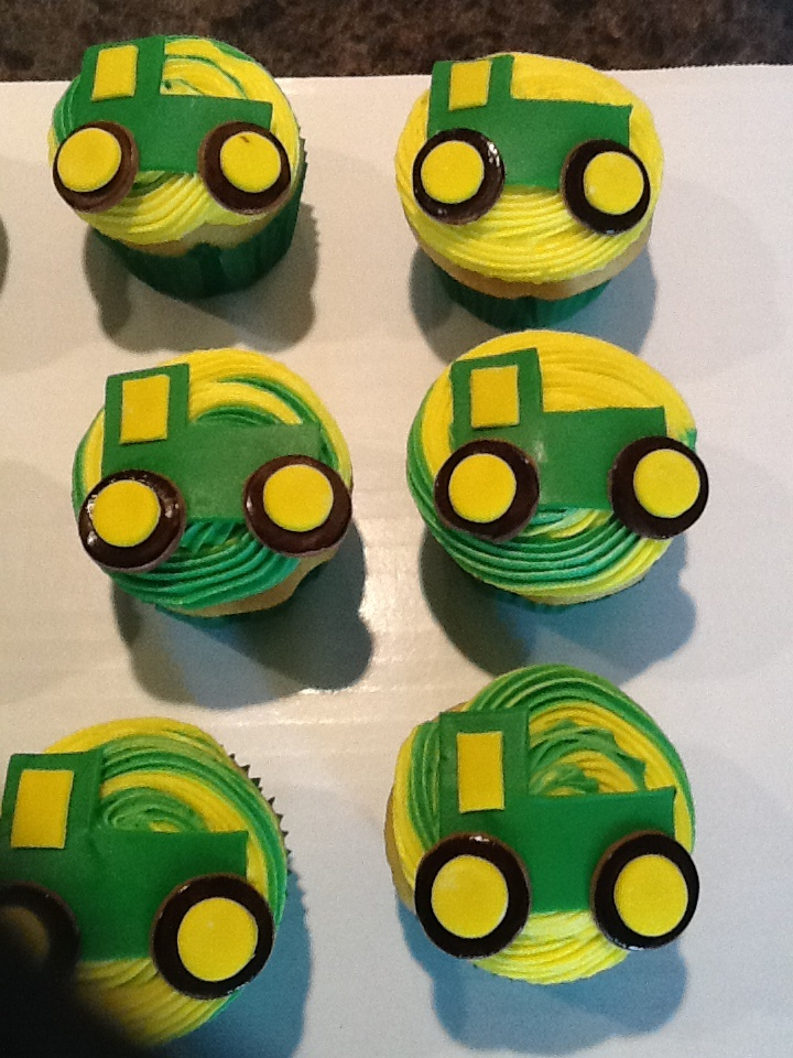 Tractor cupcakes. Yellow cake cupcakes.