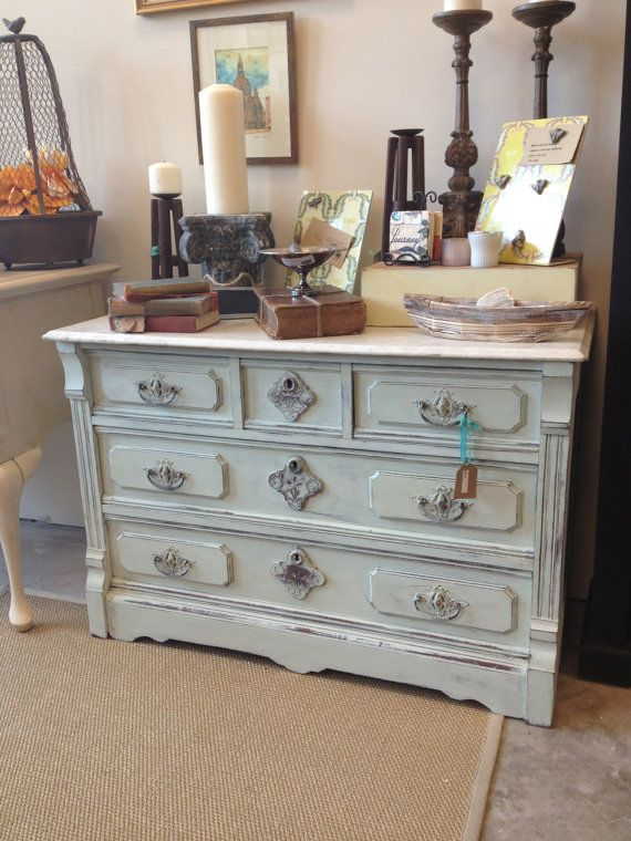 Marble Top Dresser Refreshed In Chalk Paint By By