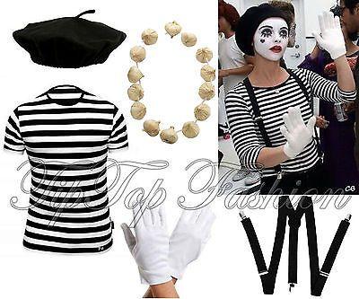 Damen Französisch Pantomime Künstler Kostüm T-Shirt Beret Hosenträger Handschuhe