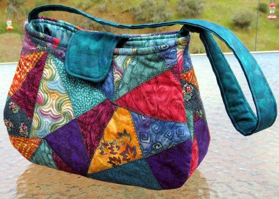 Purse - Crazy quilt purse - Patchwork Purse - One of a Kind Purse - Batik Purse…