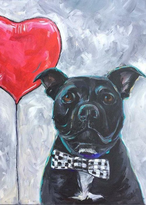Staffordshire Bull Terrier Dog Portrait Greeting Card for Sale by Michelle Lake