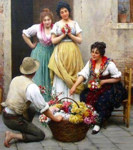 Eugene de Blaas - The Venetian Flower Vendor - Detail