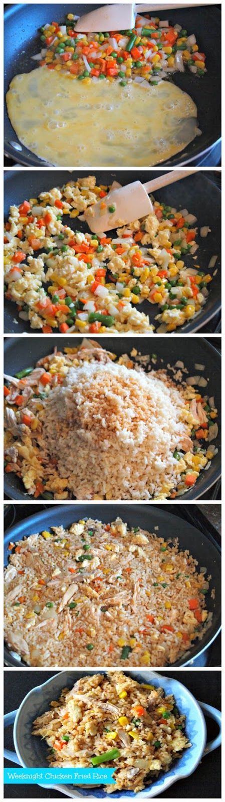 Weeknight Chicken Fried Rice:  3 cups cooked white rice 3 tbsp. sesame oil 1 cup frozen vegetables (like peas and carrots) 1 small onion, chopped 2 cloves garlic, minced 2 eggs, beaten lightly 1 cup cooked chicken, diced or shredded  1/4 cup soy sauce -