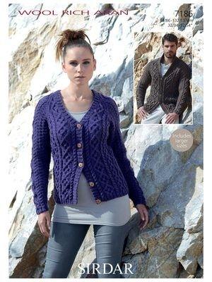 Sirdar Wool Rich Aran Pattern 7186