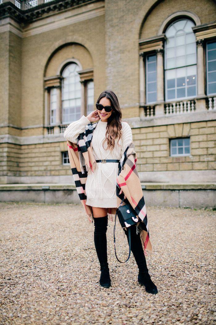 sweater dress + cashmere cape // carrie bradshaw lied