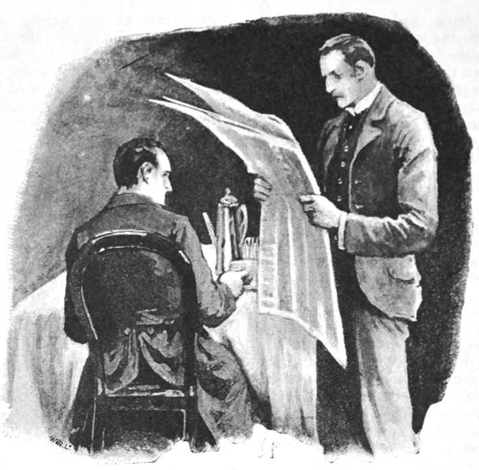 """""""'Holmes,' I cried. 'You are too late,'"""" — illustration to Arthur Conan Doyle's """"The Five Orange Pips"""" by Sidney Paget"""