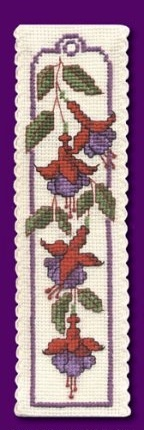 Counted cross stitch - a Fuschias Bookmark I made. I bought the kit in England from the Textile Heritage collection.