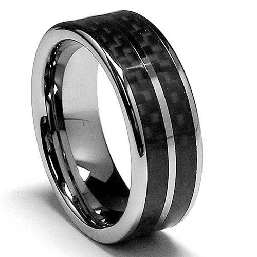 ring with double row carbon fiber mens engagement - Wedding Rings For Guys