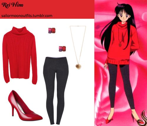 Like Sailor Moon Outfits on Facebook! Requested by: sweisenborn  Forever 21 zigzag heart necklace Forever 21 jewel tone gem earrings in Pink/Purple TNA Make The Cut leggings in Heather Black Mossimo pointy heel in Red Patent Tokyo Fashion cowl-neck cable-knit sweater in Red or Zara cable knit sweater in Red