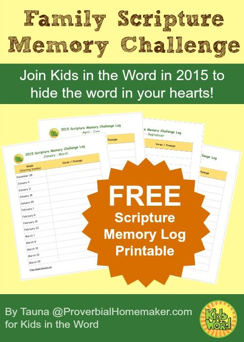 Free printable scripture memory log for 2015, a great way to get your family to memorize bible verses this coming year. Perfect for Christian homeschool families. KidsintheWord.net