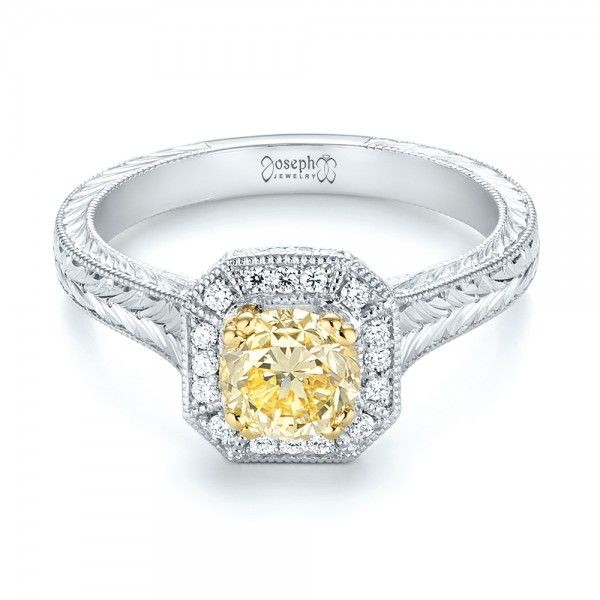 Custom Two-Tone Vintage Yellow and White Diamond Engagement Ring Joseph Jewelry | Bellevue | Seattle, Washington | Design Your Own