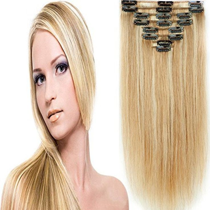 150g 20 Inch Double Weft Thick Silky Ash Blonde&Bleach Blonde Clip in 100% Real Remy Human Hair Extensions 8 Pieces 18 Clips #18/613 by US Fashion Outlet -- Awesome products selected by Anna Churchill