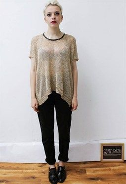 Vintage 90's metallic knitted open weave gold slouchy top