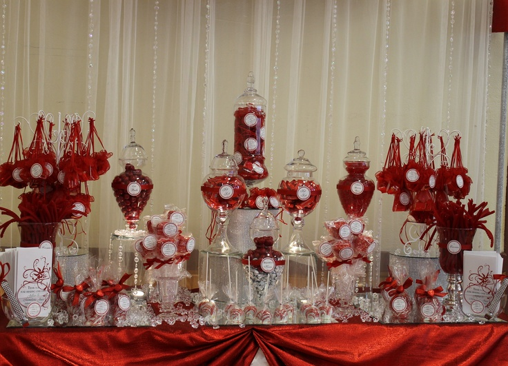 BY TASTY TABLES Bling Candy Buffet Red And White Wedding