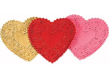 Small Gold Heart Shaped Doyleys Pack of 12. Great for collage and card making.