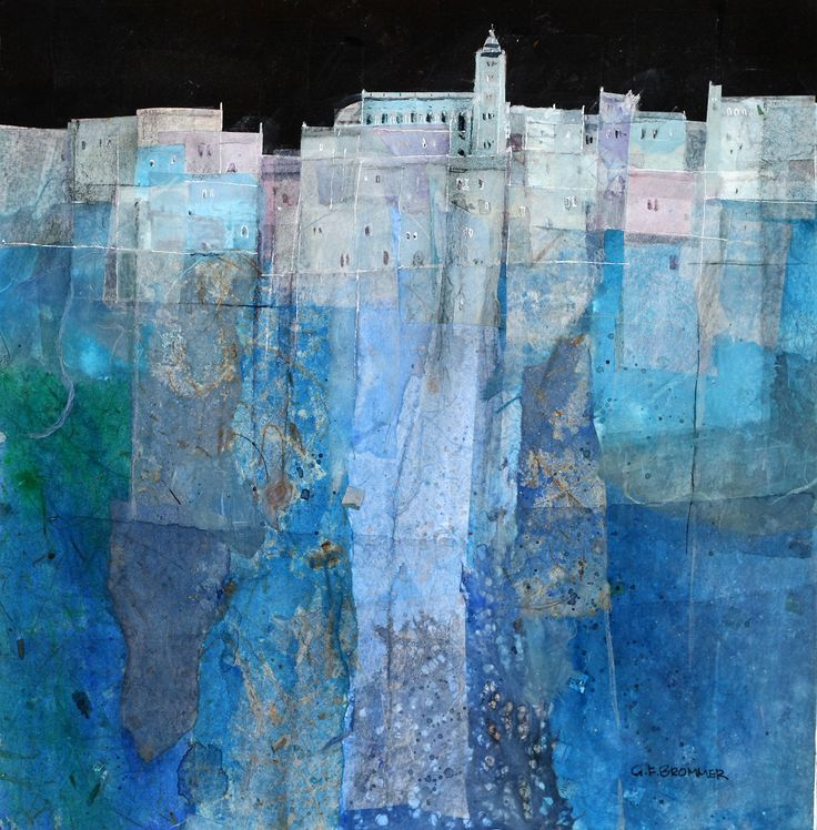 """Gerald Brommer """"Blue Hilltown"""" watercolor and collage"""