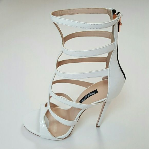 RUTHIE DAVIS ITALIAN CALFSKIN RUTHIE DAVIS ITALIAN TWIGGY WHITE CALFSKIN ANKLE WRAP OPEN BOOTIE WITH BACK ZIPPER.  *THIS SEASON! NEVER WORN!* RUTHIE DAVIS Shoes Ankle Boots & Booties