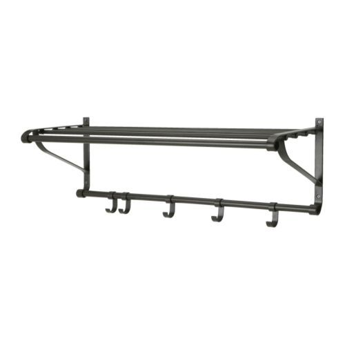 "PORTIS Hat rack, black  Product dimensions Width: 35 3/8 "" Depth: 12 1/4 "" Height: 13 ""  $19.99"