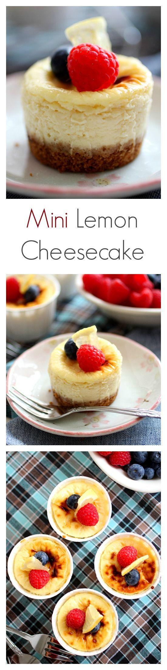 Mini lemon cheesecake recipe. Super rich, creamy, and citrusy cheesecake, in a cute mini size. Passover dessert idea! | rasamalaysia.com