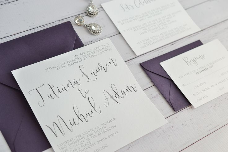 Amethyst and Silver Wedding Invitation Set. Amethyst and Silver Invitation. Square Wedding Invitation.