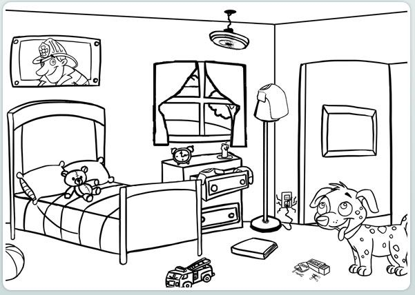 coloring pages simple living room - photo#36
