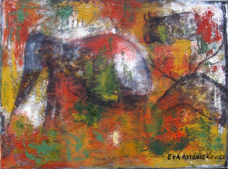 ''Prehistoria3'' olej. 60x80. Ewa Andruszkiewicz