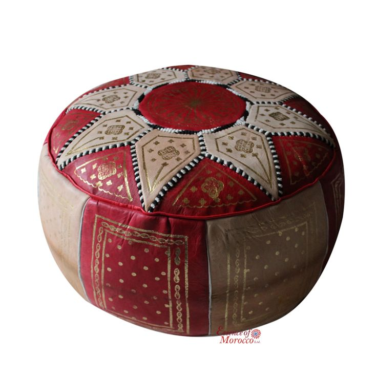 Moroccan Leather Pouf COVER Vintage Genuine Leather Red Natural Tan with Gold…