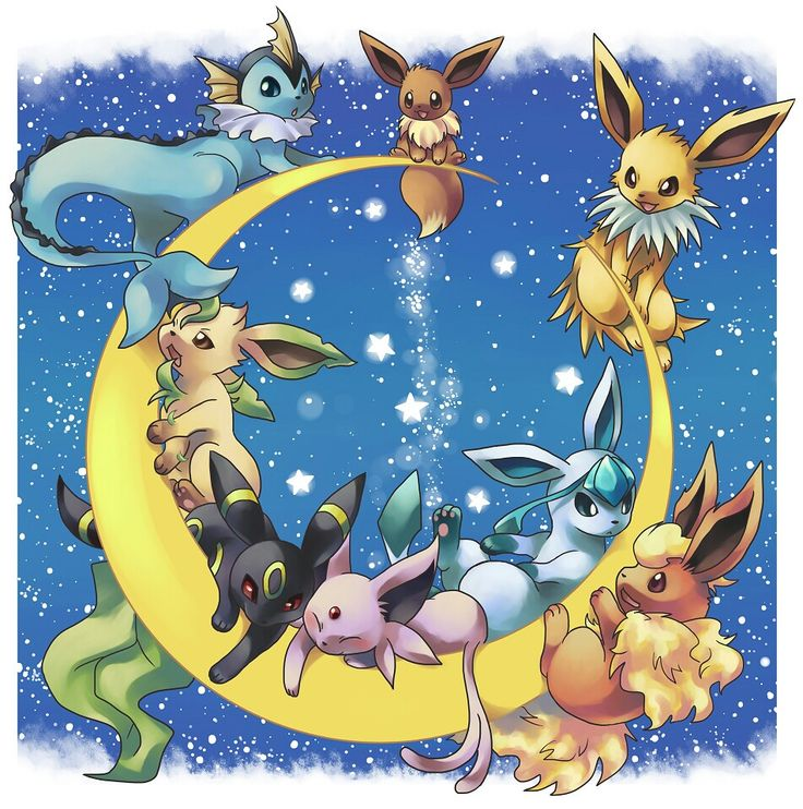 Awww le eevee and it's different evolutions.