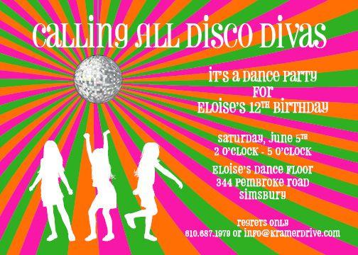 Disco Diva Landscape Invitation