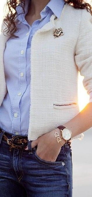 Striped shirt, jacket, jeans, leopard print belt, brooch