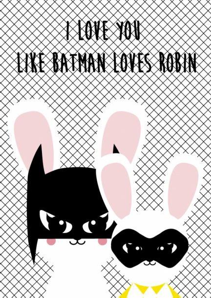 Kaartje Batman loves Robin.Ansichtkaart Batman loves Robin is een grappige kaart om zelf te houden of iemand te geven die je lief hebt.