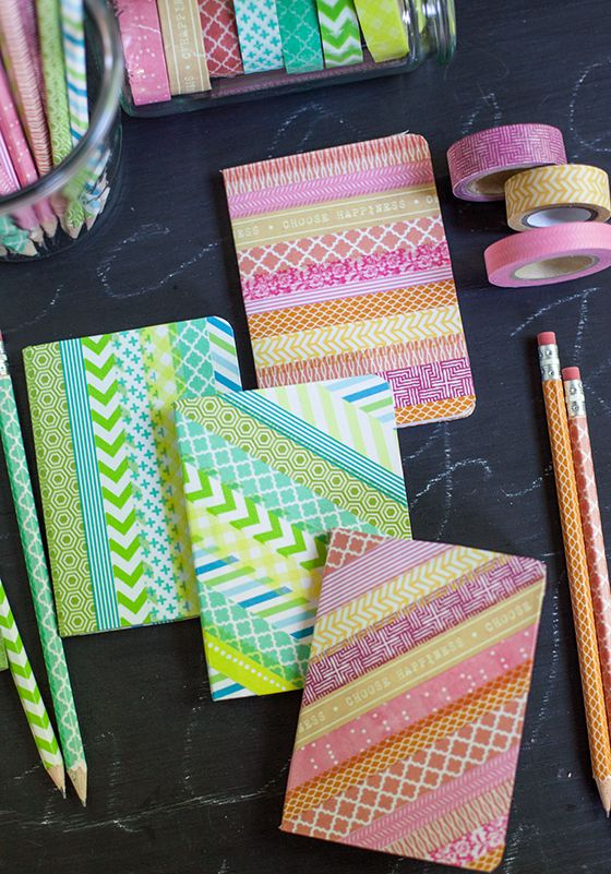 Washi tape notebooks and pencils - a great back to school project