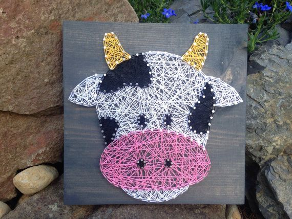 READY TO SHIP- Cow String Art- Farm Decor