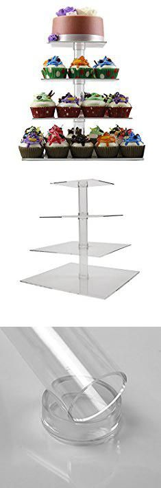 Diy Rustic Cupcake Stand. 4 Tier Cupcake Holder Stand - Square Clear Acrylic Cupcake Display Riser - Tiered Dessert Stand - Cupcake Tower Stand Plastic- Cupcake Tree Carrier for Wedding Birthday Party Limited Time Deal.  #diy #rustic #cupcake #stand #diyrustic #rusticcupcake #cupcakestand