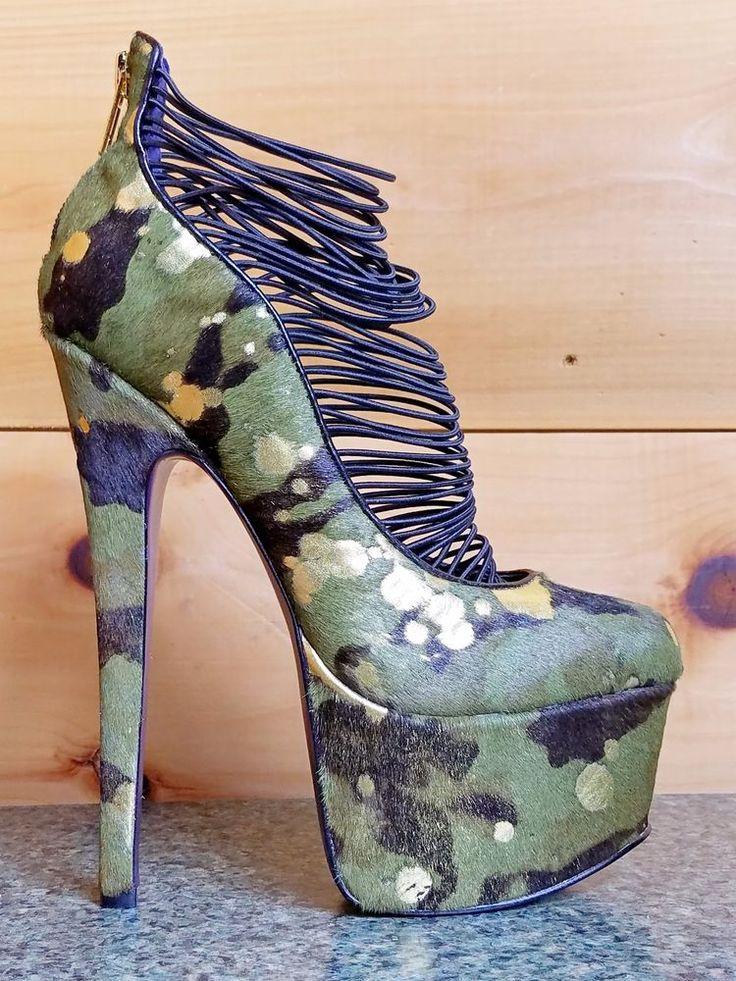 Zigi NYs London Trash Ceres Camo Green Gold Pony Platform High Heel Shoe   Clothing, Shoes & Accessories, Women's Shoes, Heels   eBay!
