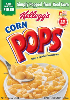 The Corn Pops logotype does just as its name would suggest. It makes what might be an otherwise bland cereal stand out as something wild and fun.
