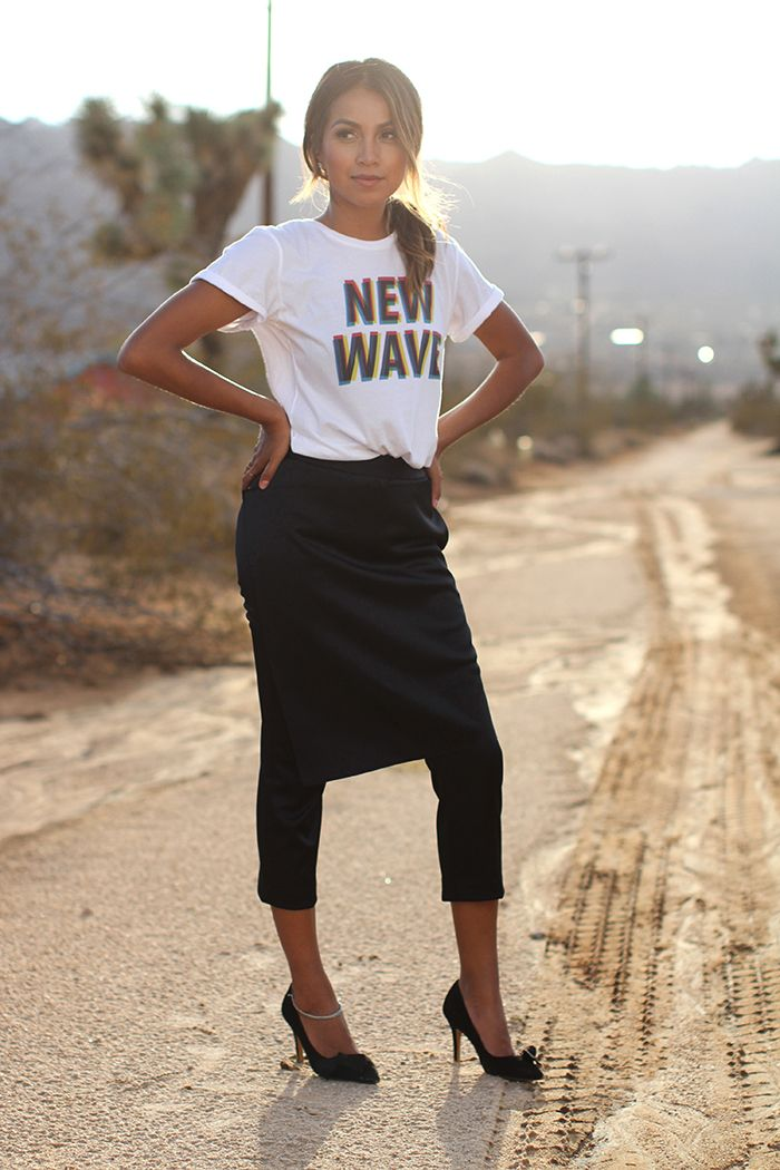 Skirt and cropped pants...