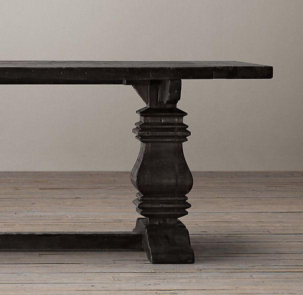 2695 Salvaged Wood Trestle Rectangular Extension Dining Table
