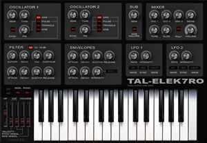 "Togu Audio Line (TAL) TAL-Elec7ro. Nice basic software ""analog"" synth. Donationware."