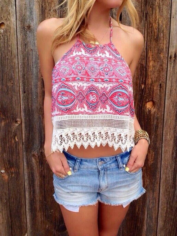 Boho lace belly shirts & Denim shorts