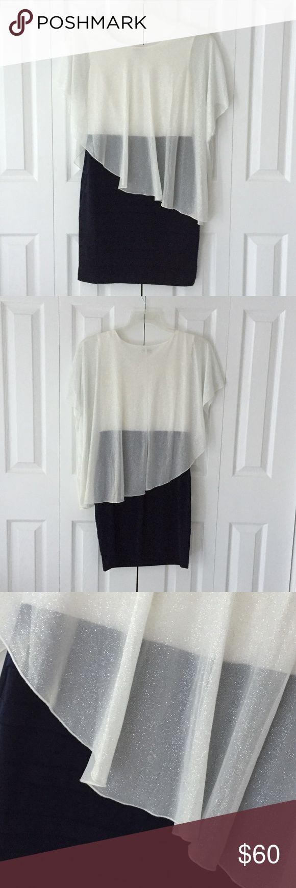 "Womens Enfocus Studio dress Womens Enfocus Studio BLack and White dress With sheer sparkly cape top  Length: 33"" Condition: New Enfocus Studio Dresses Wedding"