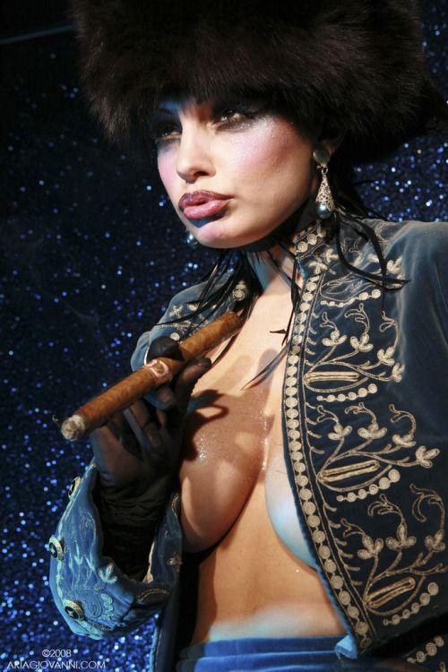 Bondage in smoking woman