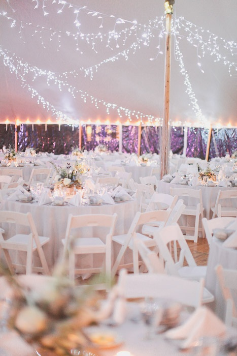 Lights, fabric, diamond mesh and lighted paper lanterns to decorate the tent