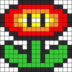 Mario Fire Flower Perler Bead Pattern / Bead Sprite