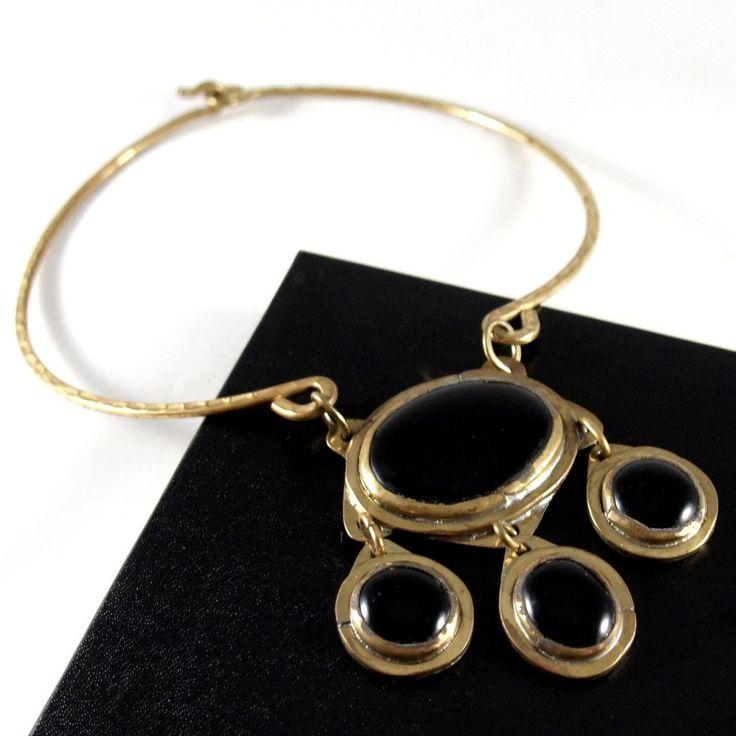 Rare Rafael Canada Necklace - Choker Four Cabochon - Brass