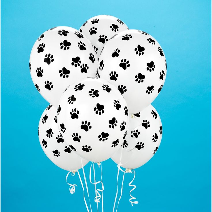 "Paw print balloons: Each package contains 6 latex balloons, measuring 11""  diameter $3"